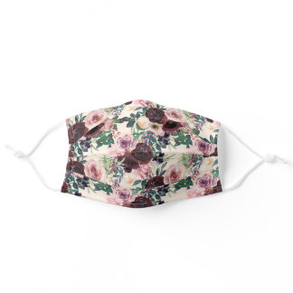 Burgundy Blush Pink Watercolor Floral Green Leaves Adult Cloth Face Mask