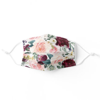 Burgundy Blush Watercolor Floral Pattern Adult Cloth Face Mask