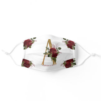 Burgundy Floral | Gold Tone Monogram A | Name Adult Cloth Face Mask