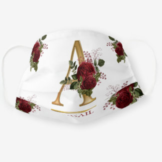 Burgundy Floral | Gold Tone Monogram A | Name Cloth Face Mask