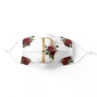 Burgundy Floral | Gold Tone Monogram B | Name Adult Cloth Face Mask