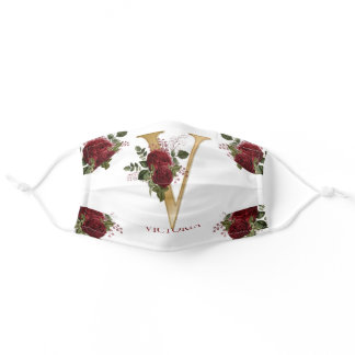 Burgundy Floral | Gold Tone Monogram V | Name Adult Cloth Face Mask