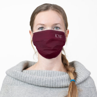 Burgundy or Brick Red Monogrammed Initials Classy Adult Cloth Face Mask