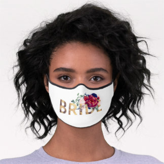 Burgundy Red and Navy Blue Flowers Bride Premium Face Mask