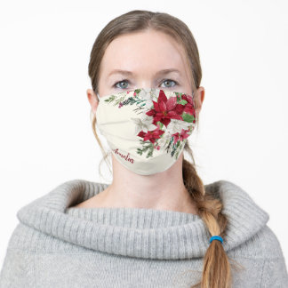 Burgundy Red Floral Christmas Bouquet with Name Adult Cloth Face Mask