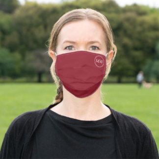 Burgundy Red Monogram Initials Adult Cloth Face Mask