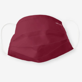 Burgundy Red Personalized Monogram and Name Cloth Face Mask