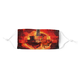 Burning Guitar Add Name Orange Flame Music Adult Cloth Face Mask