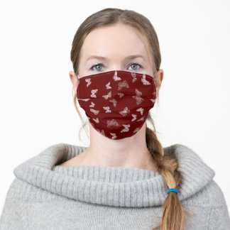 BUTTERFLIES lacy white outline on burgandy Adult Cloth Face Mask