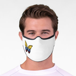 Butterfly flag, wrapped design, Colombiano, Colom Premium Face Mask