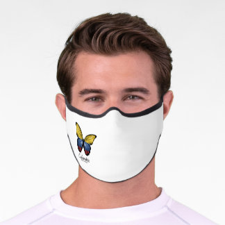 Butterfly flag, wrapped design, Colombiano, Colomb Premium Face Mask