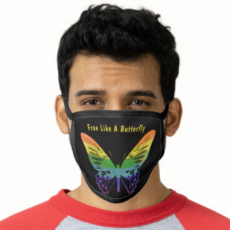 Butterfly Free Gay LGBTQ Rainbow Flag Colors Face Mask