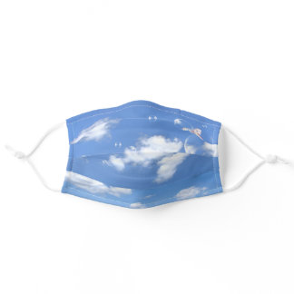 butterfly on bubbles with sky adult cloth face mask
