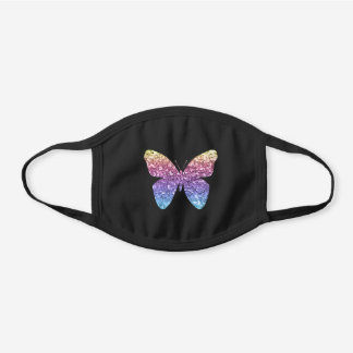 Butterfly Rainbow Glitter Cute Girly Black Cotton Face Mask