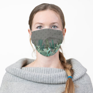 Cacti Over Brown Adult Cloth Face Mask