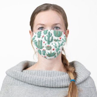 Cactus succulents heart pattern white green adult cloth face mask