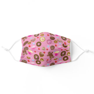 Cakes and Cookies Pink Patterned Adult Cloth Face Mask