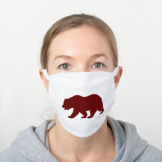 California Grizzly Bear Shape Burgundy White Cotton Face Mask