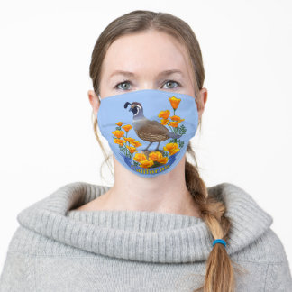 California State Bird Quail & Golden Poppy Flowers Adult Cloth Face Mask
