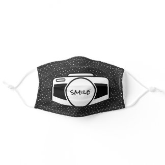 "camera with ""smile"" text cloth face mask"