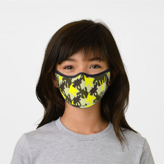 Camo Camouflage green and yellow  Pattern  Premium Face Mask