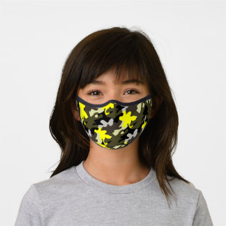 Camo Camouflage green , yellow and black  Pattern  Premium Face Mask