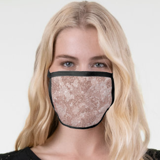 Camo Camouflage Rose Gold Pink For her Glitter Face Mask