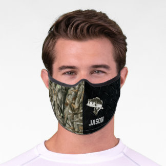 Camo Forest Green Bass Fishing Cool Men's Black Premium Face Mask