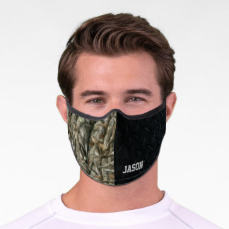 Camo Forest Green Hunting Cool Men's Black Premium Face Mask