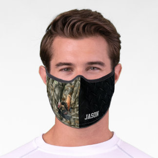 Camo Forest Green Turkey Hunting Cool Men's Black Premium Face Mask