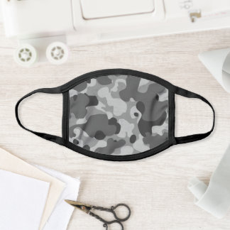 Camouflage Black and Gray Military Camo Pattern Face Mask