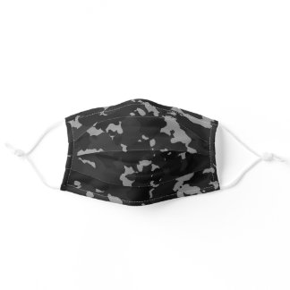 Camouflage Black Night Grey Camo For Him Adult Cloth Face Mask