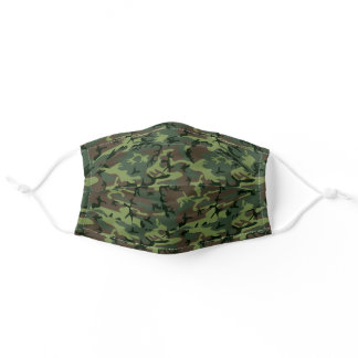 Camouflage Camo Green Brown Pattern Adult Cloth Face Mask