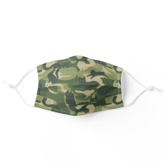 Camouflage Cats Pattern Army Green Kitty Cats Camo Adult Cloth Face Mask