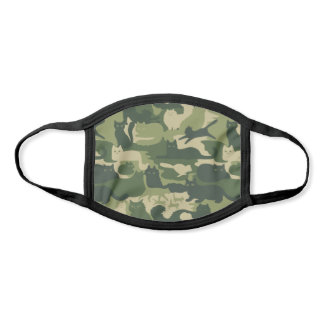 Camouflage Cats Pattern Army Green Kitty Cats Camo Face Mask