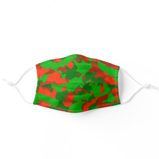 Camouflage Green Camo Red Christmas Adult Cloth Face Mask