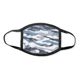 Camouflage Pattern Blue White Grey Face Mask