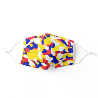 Camouflage Red Blue Yellow Modern Art Adult Cloth Face Mask