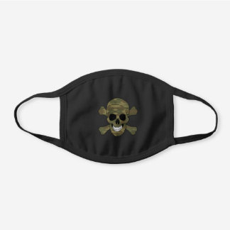 Camouflage Skull And Crossbones Black Cotton Face Mask
