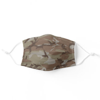 Camouflaged Tan and Brown Pattern Urban Desert Adult Cloth Face Mask