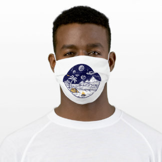 Camping on the beach adult cloth face mask