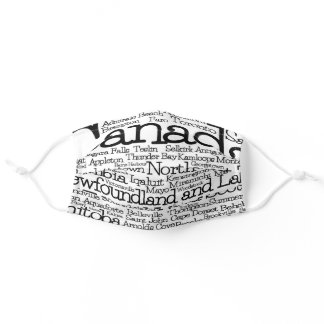 Canada Cities and Towns Word Art Adult Cloth Face Mask