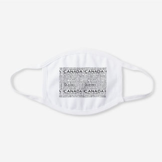 Canadian Cities White Cotton Face Mask