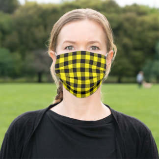 Canary Yellow And Black Buffalo Plaid Adult Cloth Face Mask