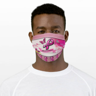 Cancer Awareness Colorful Butterflies & Ribbons Adult Cloth Face Mask