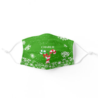 Candy Canes and Snowflakes with Your Name on GREEN Adult Cloth Face Mask