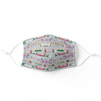 Candy Colored Horse Jumps Pattern Adult Cloth Face Mask
