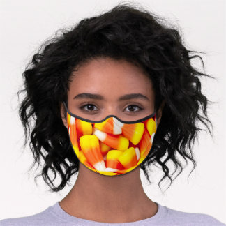Candy Corn Confectionery Yellow and Orange Premium Face Mask