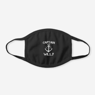 CAPTAIN WILLY Funny Birthday Personaliz Black Cotton Face Mask