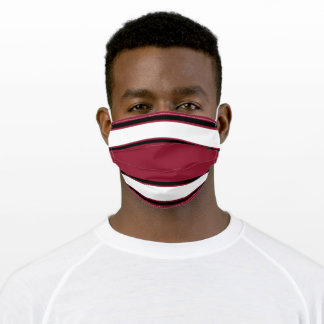 Cardinal Red, Black, and White Sport Stripe Adult Cloth Face Mask